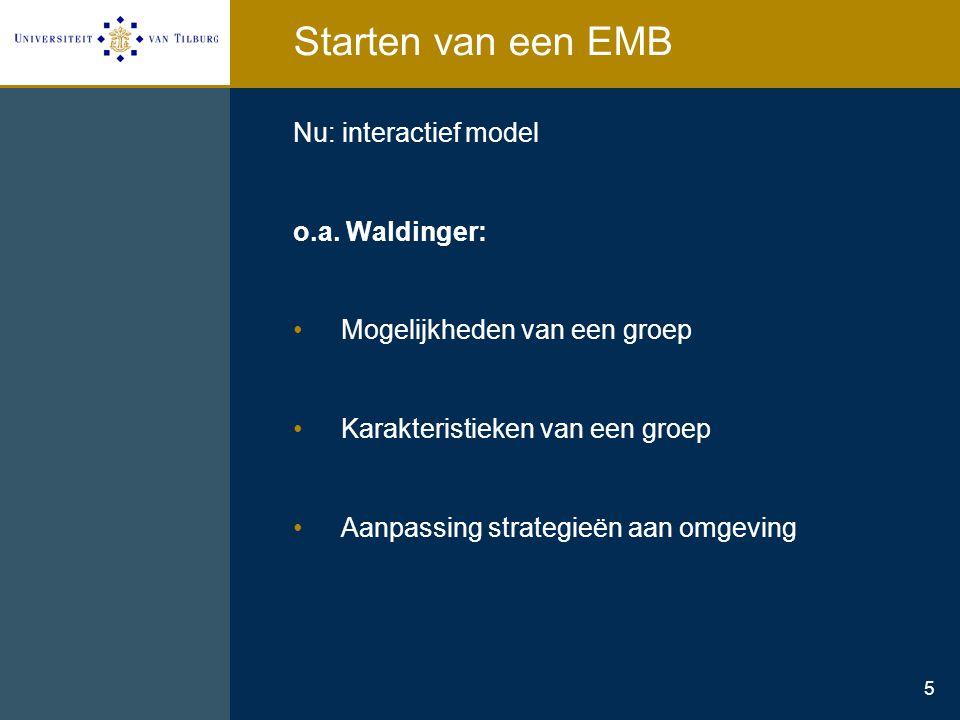 5 Starten van een EMB Nu: interactief model o.a. Waldinger: Mogelijkheden van een groep Karakteristieken van een groep Aanpassing strategieën aan omge