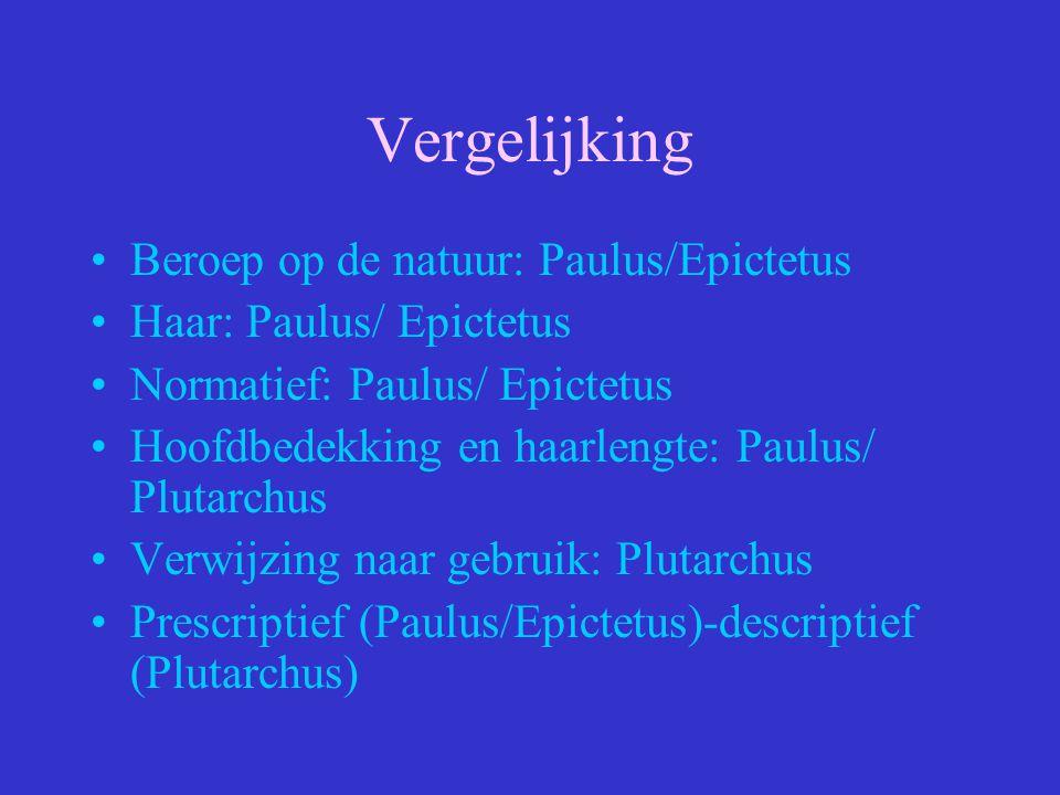 Vergelijking Beroep op de natuur: Paulus/Epictetus Haar: Paulus/ Epictetus Normatief: Paulus/ Epictetus Hoofdbedekking en haarlengte: Paulus/ Plutarch