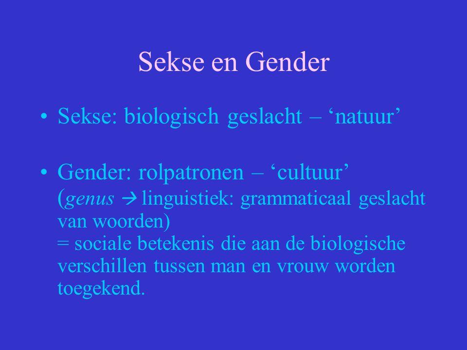 Sekse en Gender Sekse: biologisch geslacht – 'natuur' Gender: rolpatronen – 'cultuur' ( genus  linguistiek: grammaticaal geslacht van woorden) = soci