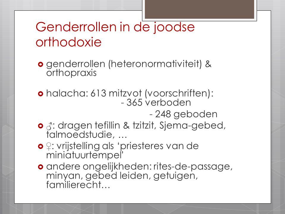 Genderrollen in de joodse orthodoxie  genderrollen (heteronormativiteit) & orthopraxis  halacha: 613 mitzvot (voorschriften): - 365 verboden - 248 g