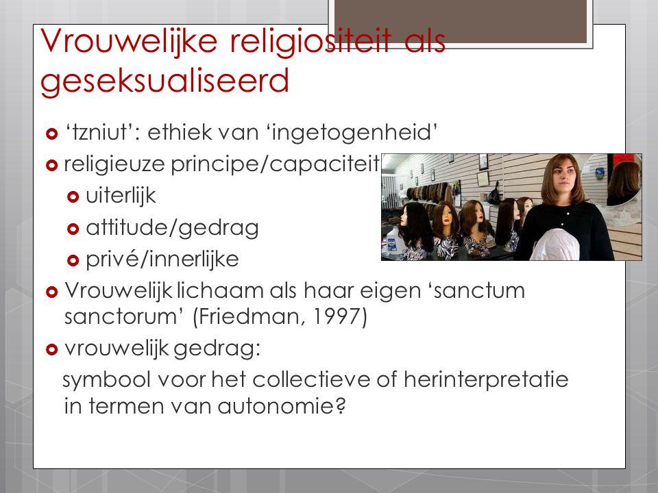 Vrouwelijke religiositeit als geseksualiseerd  'tzniut': ethiek van 'ingetogenheid'  religieuze principe/capaciteit  uiterlijk  attitude/gedrag 