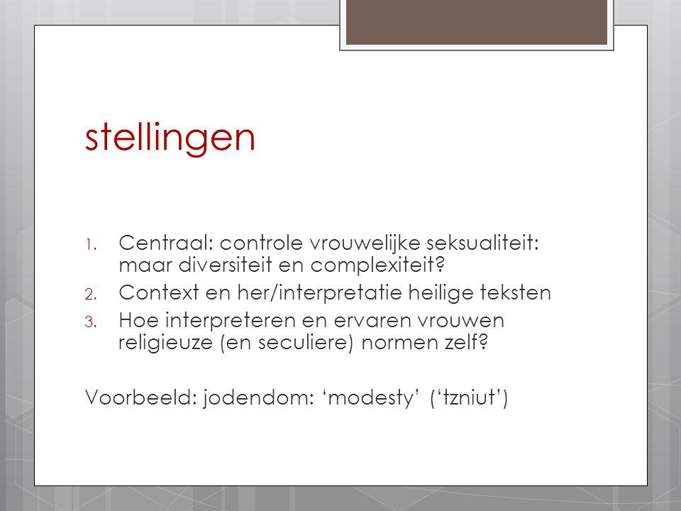 stellingen 1. Centraal: controle vrouwelijke seksualiteit: maar diversiteit en complexiteit? 2. Context en her/interpretatie heilige teksten 3. Hoe in