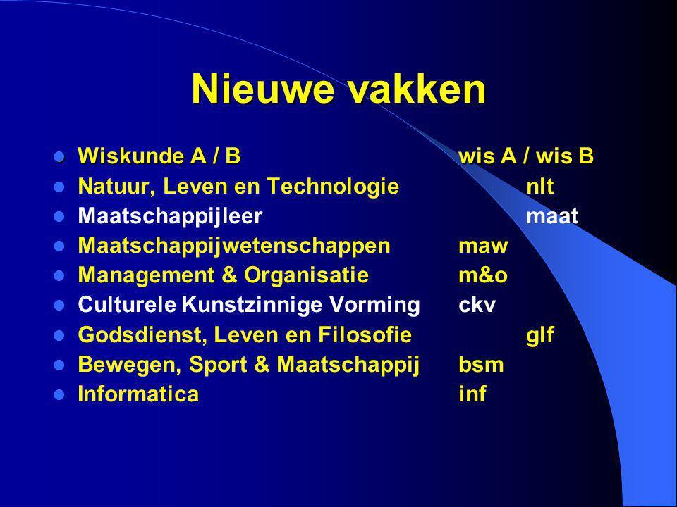 Nieuwe vakken Wiskunde A / Bwis A / wis B Wiskunde A / Bwis A / wis B Natuur, Leven en Technologienlt Maatschappijleermaat Maatschappijwetenschappenma