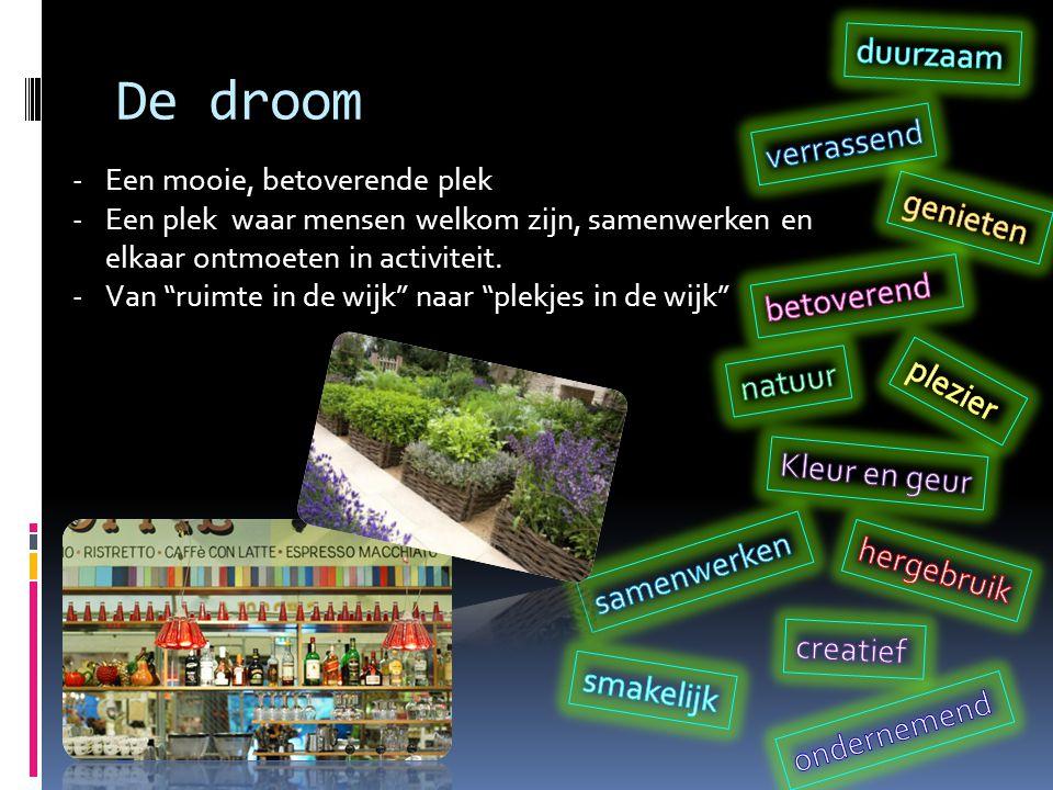De droom -Een mooie, betoverende plek -Een plek waar mensen welkom zijn, samenwerken en elkaar ontmoeten in activiteit.