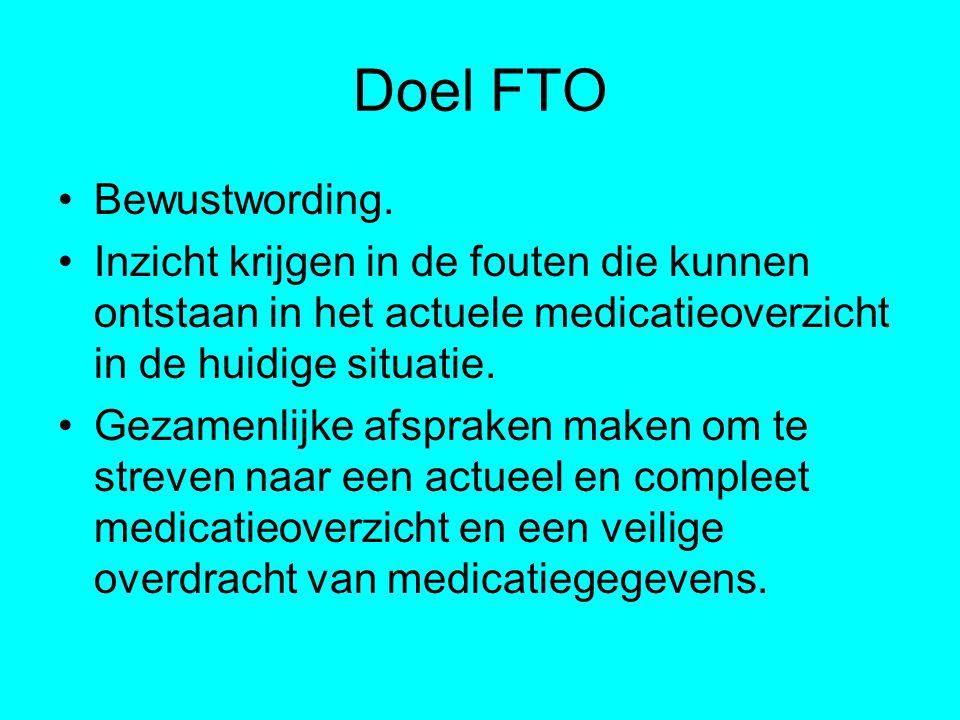 Doel FTO Bewustwording. Inzicht krijgen in de fouten die kunnen ontstaan in het actuele medicatieoverzicht in de huidige situatie. Gezamenlijke afspra