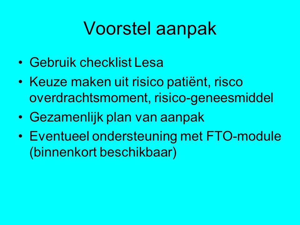 Voorstel aanpak Gebruik checklist Lesa Keuze maken uit risico patiënt, risco overdrachtsmoment, risico-geneesmiddel Gezamenlijk plan van aanpak Eventu