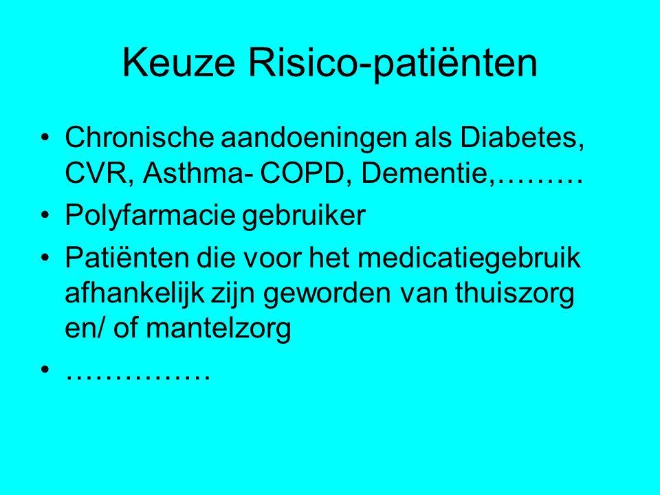 Keuze Risico-patiënten Chronische aandoeningen als Diabetes, CVR, Asthma- COPD, Dementie,……… Polyfarmacie gebruiker Patiënten die voor het medicatiege
