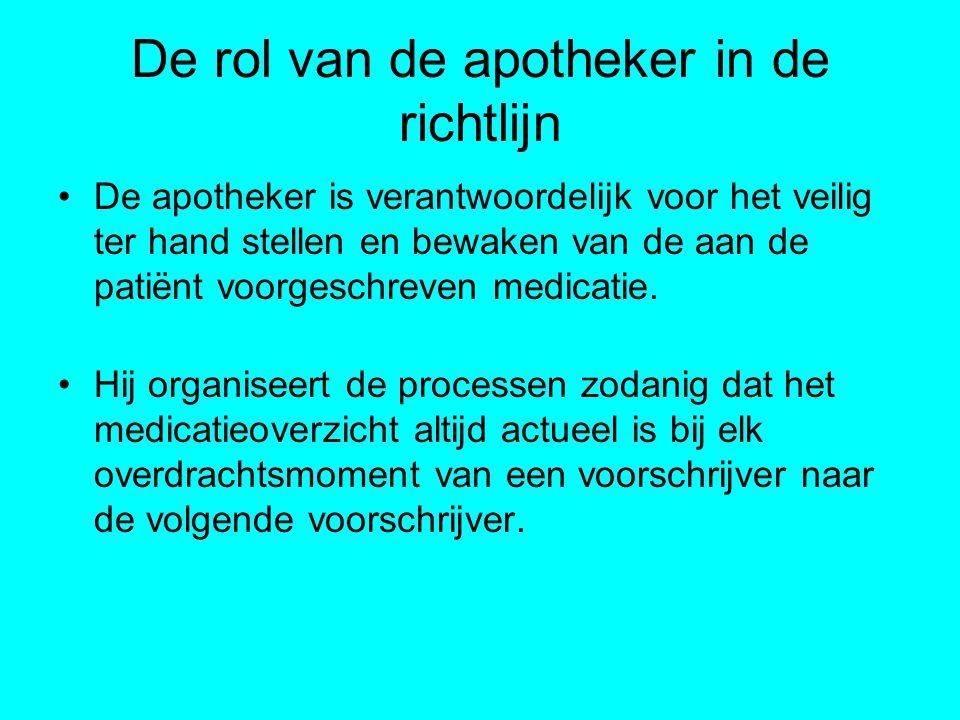 De rol van de apotheker in de richtlijn De apotheker is verantwoordelijk voor het veilig ter hand stellen en bewaken van de aan de patiënt voorgeschre