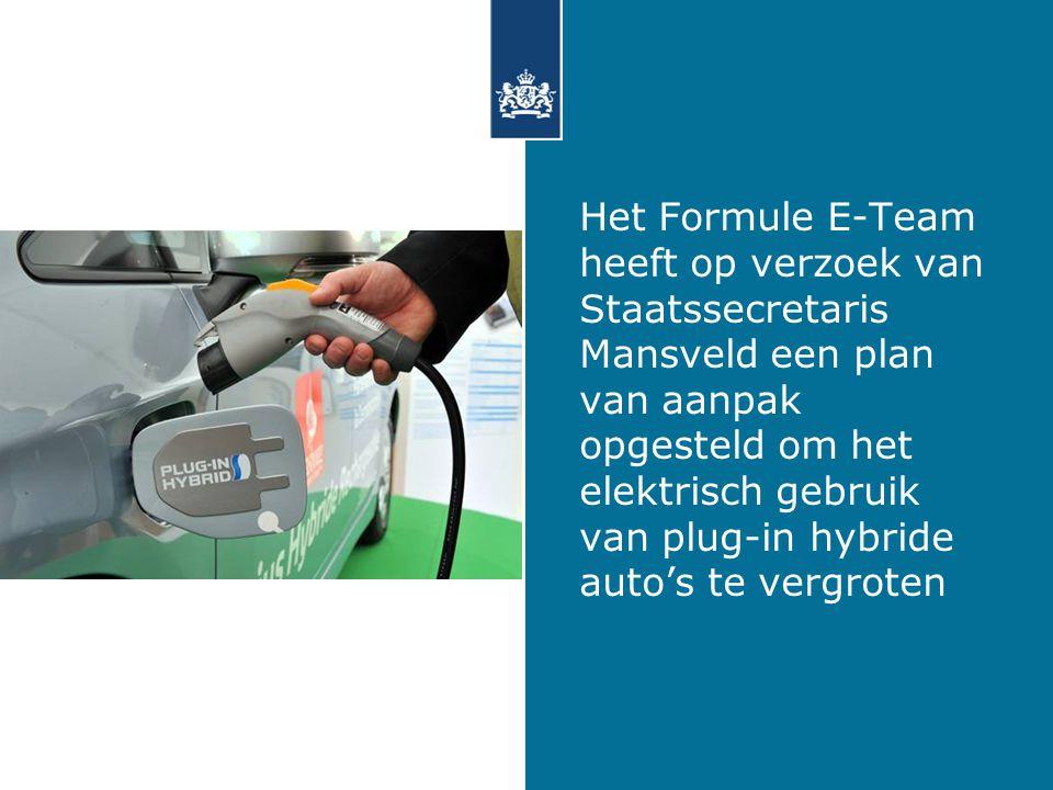 Het Formule E-Team heeft op verzoek van Staatssecretaris Mansveld een plan van aanpak opgesteld om het elektrisch gebruik van plug-in hybride auto's te vergroten