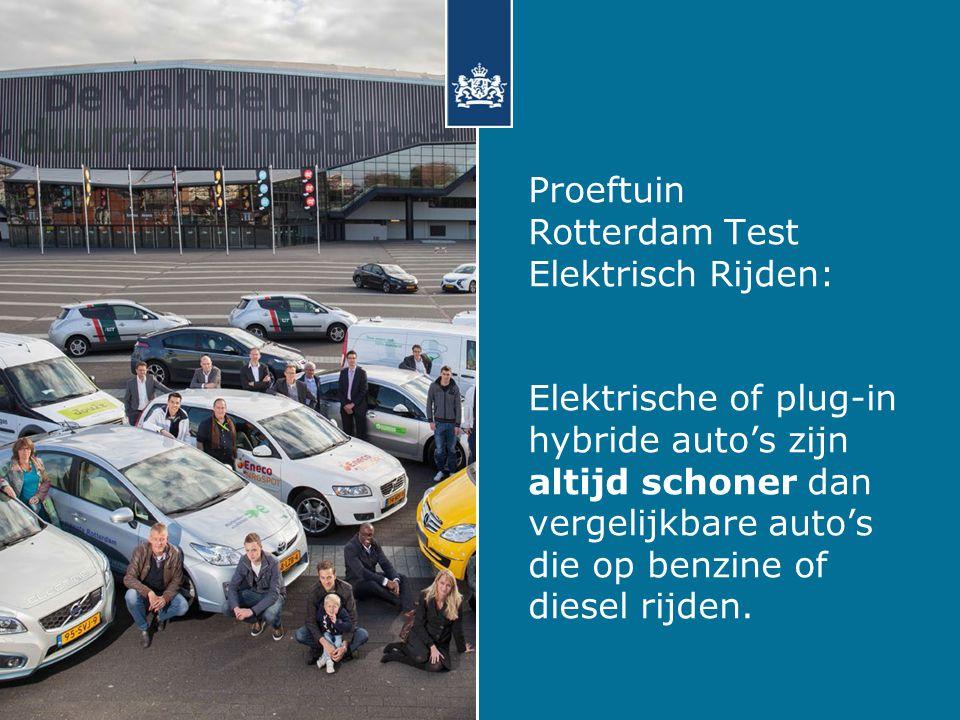 Proeftuin Rotterdam Test Elektrisch Rijden: Elektrische of plug-in hybride auto's zijn altijd schoner dan vergelijkbare auto's die op benzine of diesel rijden.