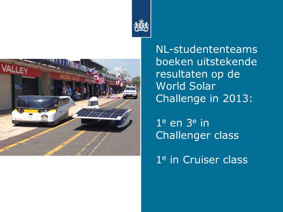 NL-studententeams boeken uitstekende resultaten op de World Solar Challenge in 2013: 1 e en 3 e in Challenger class 1 e in Cruiser class