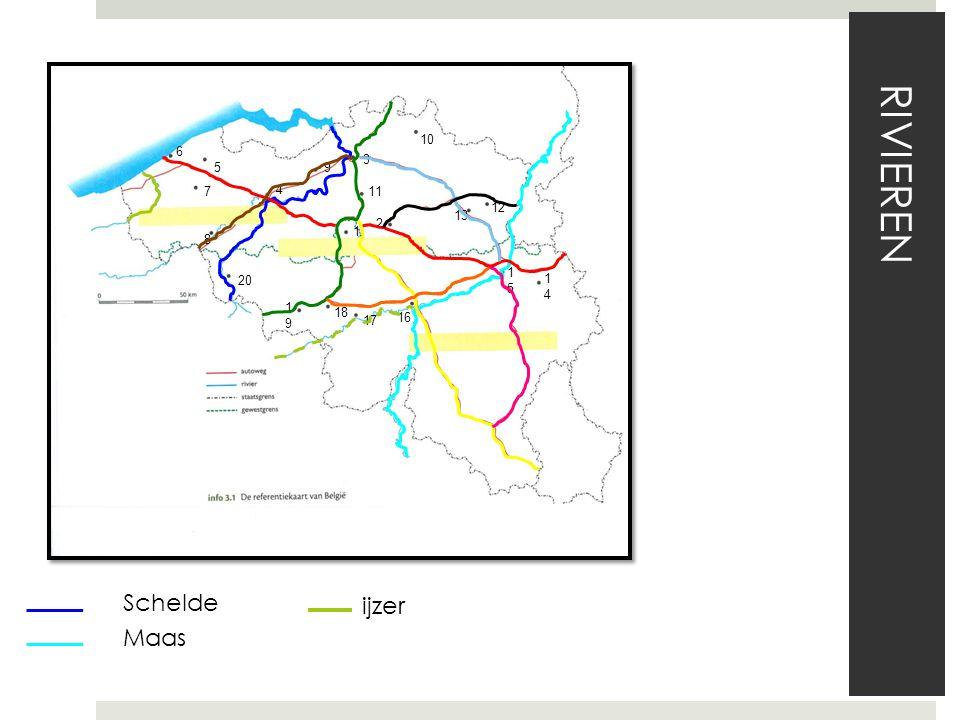 Schelde Maas RIVIEREN 1 2 3 4 5 6 7 8 9 10 11 12 13 1414 1515 16 17 18 1919 20 ijzer