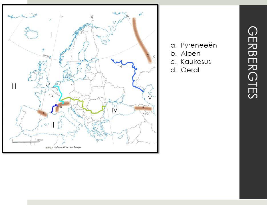 GERBERGTES 1 2 3 4 a bc d I II III IV V a.Pyreneeën b.Alpen c.Kaukasus d.Oeral