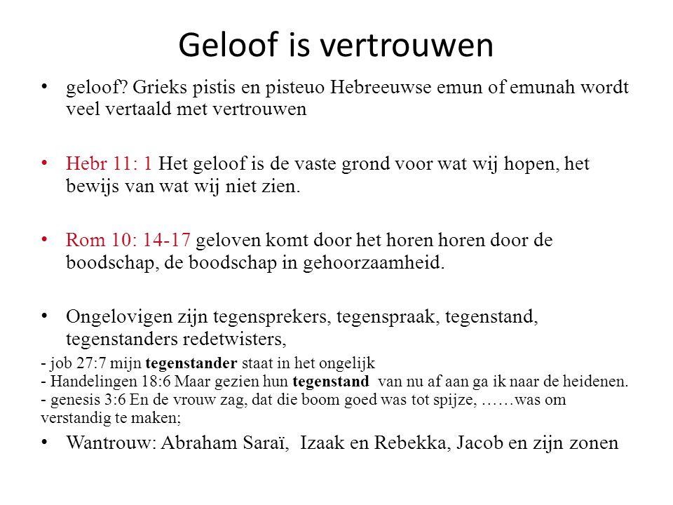 Geloof is vertrouwen geloof? Grieks pistis en pisteuo Hebreeuwse emun of emunah wordt veel vertaald met vertrouwen Hebr 11: 1 Het geloof is de vaste g