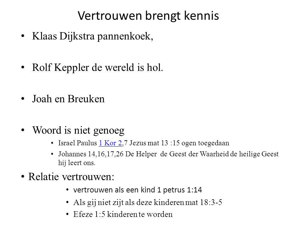 Vertrouwen brengt kennis Klaas Dijkstra pannenkoek, Rolf Keppler de wereld is hol. Joah en Breuken Woord is niet genoeg Israel Paulus 1 Kor 2,7 Jezus