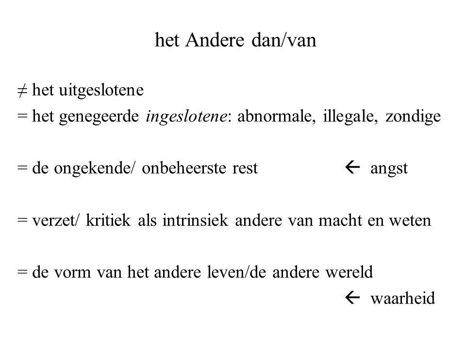 het Andere dan/van ≠ het uitgeslotene = het genegeerde ingeslotene: abnormale, illegale, zondige = de ongekende/ onbeheerste rest  angst = verzet/ kr
