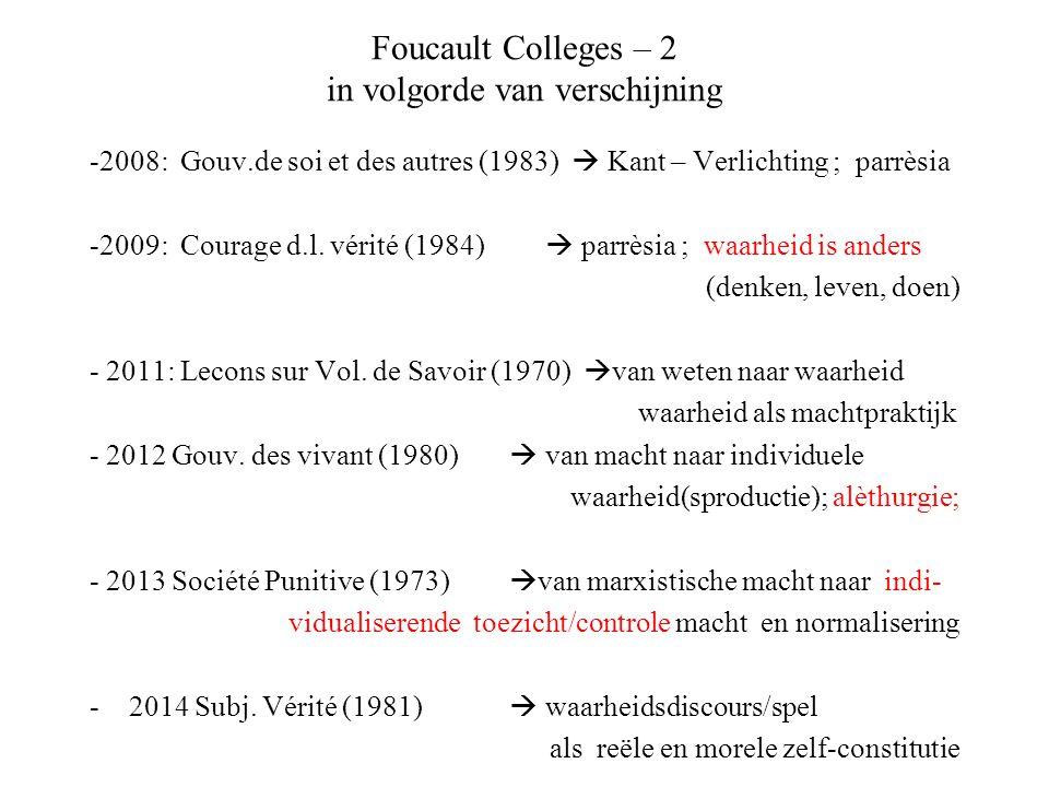 Foucault Colleges – 2 in volgorde van verschijning -2008: Gouv.de soi et des autres (1983)  Kant – Verlichting ; parrèsia -2009: Courage d.l. vérité