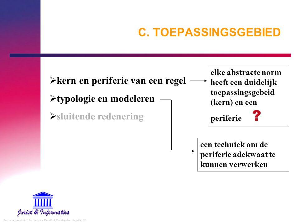 C. TOEPASSINGSGEBIED  kern en periferie van een regel  typologie en modeleren  sluitende redenering elke abstracte norm heeft een duidelijk toepass