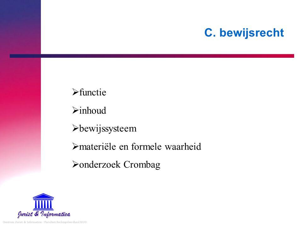 C. bewijsrecht  functie  inhoud  bewijssysteem  materiële en formele waarheid  onderzoek Crombag