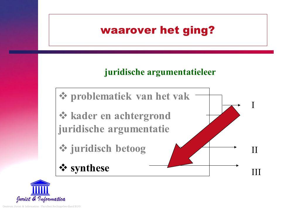 waarover het ging?  problematiek van het vak  kader en achtergrond juridische argumentatie  juridisch betoog  synthese juridische argumentatieleer
