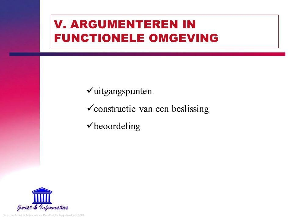 V. ARGUMENTEREN IN FUNCTIONELE OMGEVING uitgangspunten constructie van een beslissing beoordeling