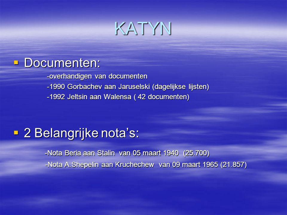 KATYN  Documenten: -overhandigen van documenten -overhandigen van documenten -1990 Gorbachev aan Jaruselski (dagelijkse lijsten) -1990 Gorbachev aan
