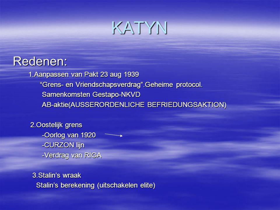 """KATYN Redenen: 1.Aanpassen van Pakt 23 aug 1939 1.Aanpassen van Pakt 23 aug 1939 """"Grens- en Vriendschapsverdrag"""".Geheime protocol. """"Grens- en Vriendsc"""