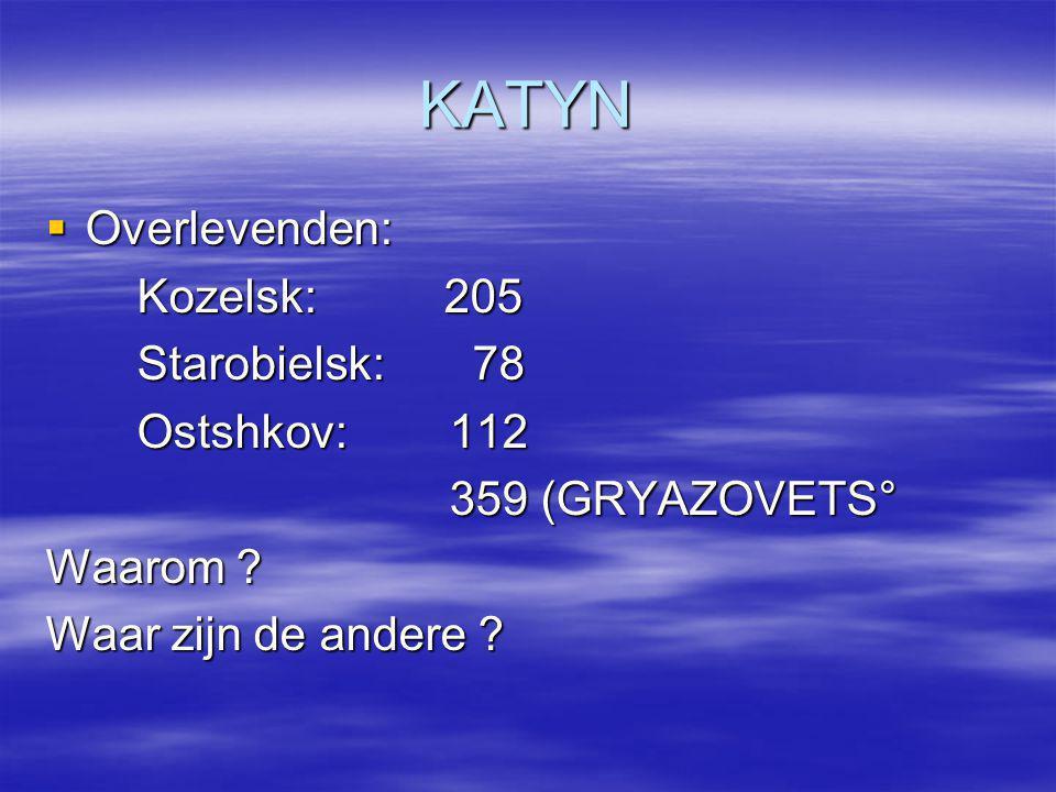 KATYN  Overlevenden: Kozelsk: 205 Kozelsk: 205 Starobielsk: 78 Starobielsk: 78 Ostshkov: 112 Ostshkov: 112 359 (GRYAZOVETS° 359 (GRYAZOVETS° Waarom ?