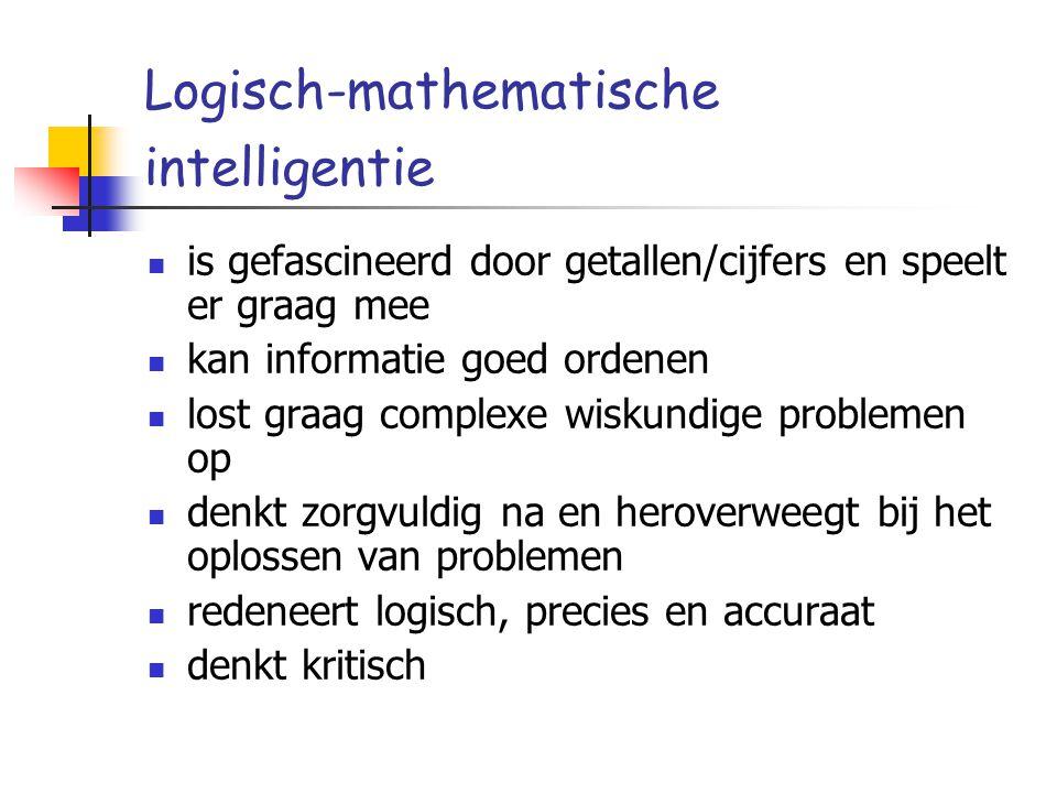 Logisch-mathematische intelligentie is gefascineerd door getallen/cijfers en speelt er graag mee kan informatie goed ordenen lost graag complexe wisku