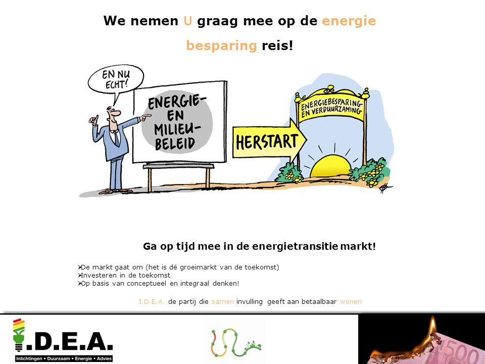 Ga op tijd mee in de energietransitie markt!  De markt gaat om (het is dé groeimarkt van de toekomst)  Investeren in de toekomst  Op basis van conc