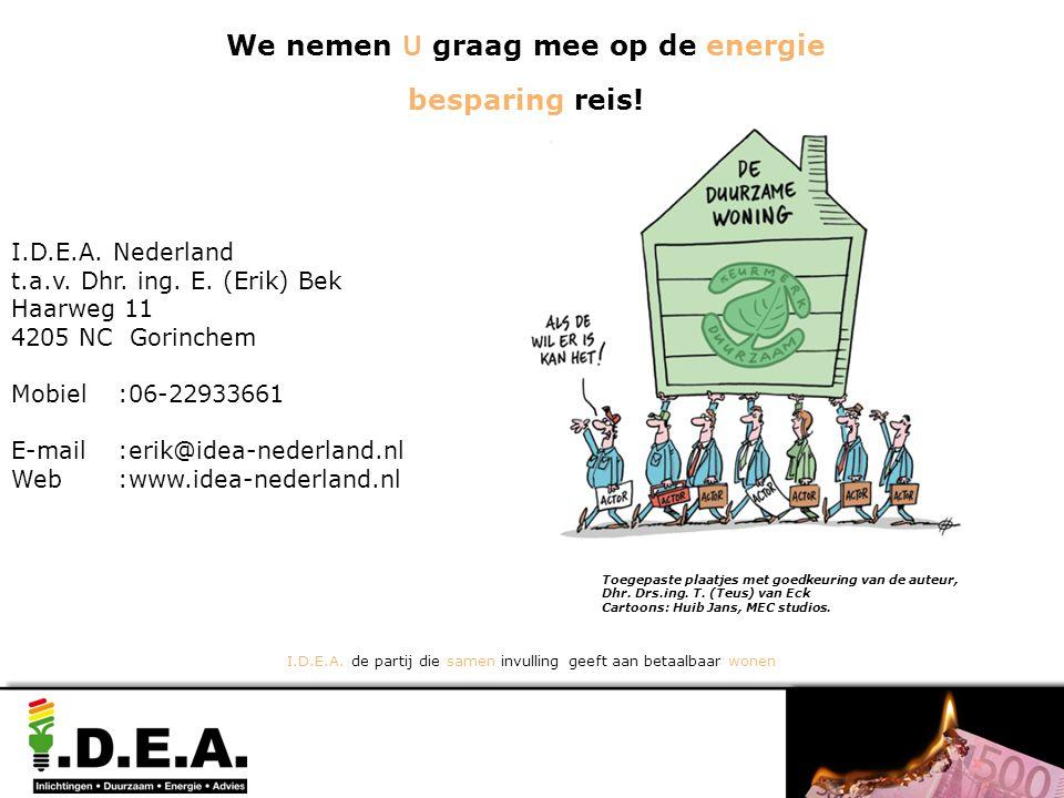 Toegepaste plaatjes met goedkeuring van de auteur, Dhr. Drs.ing. T. (Teus) van Eck Cartoons: Huib Jans, MEC studios. I.D.E.A. Nederland t.a.v. Dhr. in