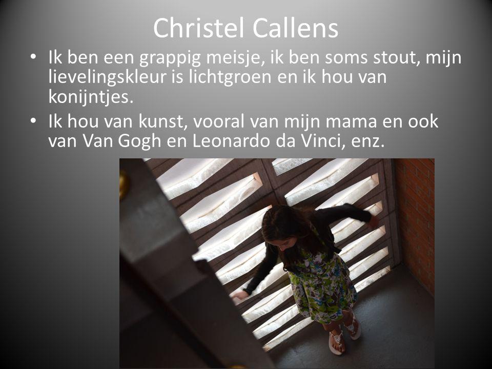 Christel Callens Ik ben een grappig meisje, ik ben soms stout, mijn lievelingskleur is lichtgroen en ik hou van konijntjes. Ik hou van kunst, vooral v
