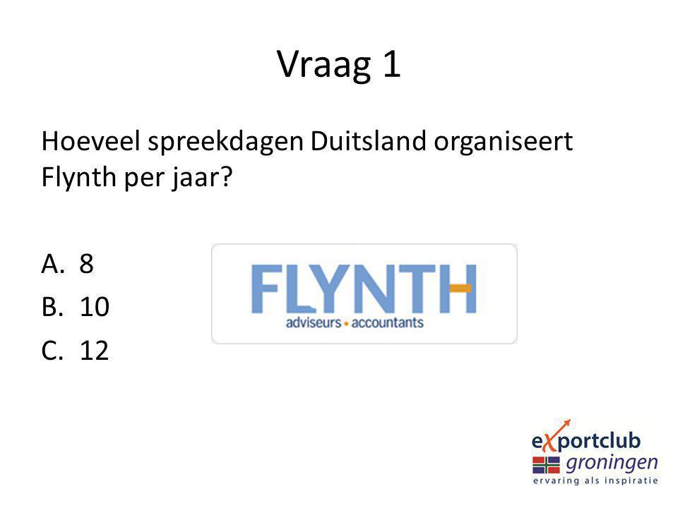 Vraag 1 Hoeveel spreekdagen Duitsland organiseert Flynth per jaar? A.8 B.10 C.12