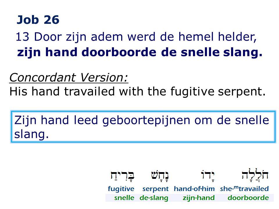 Job 26 13 Door zijn adem werd de hemel helder, zijn hand doorboorde de snelle slang. Concordant Version: His hand travailed with the fugitive serpent.