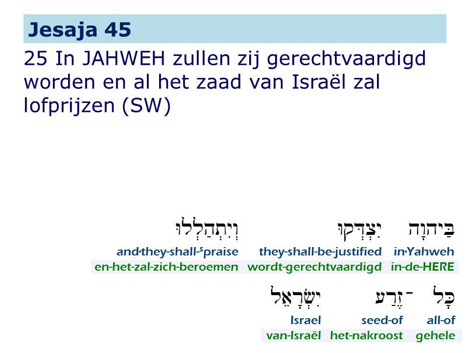 25 In JAHWEH zullen zij gerechtvaardigd worden en al het zaad van Israël zal lofprijzen (SW) Jesaja 45