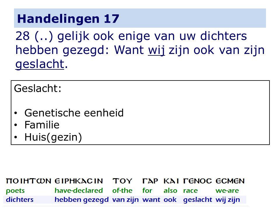 Handelingen 17 28 (..) gelijk ook enige van uw dichters hebben gezegd: Want wij zijn ook van zijn geslacht. Geslacht: Genetische eenheid Familie Huis(