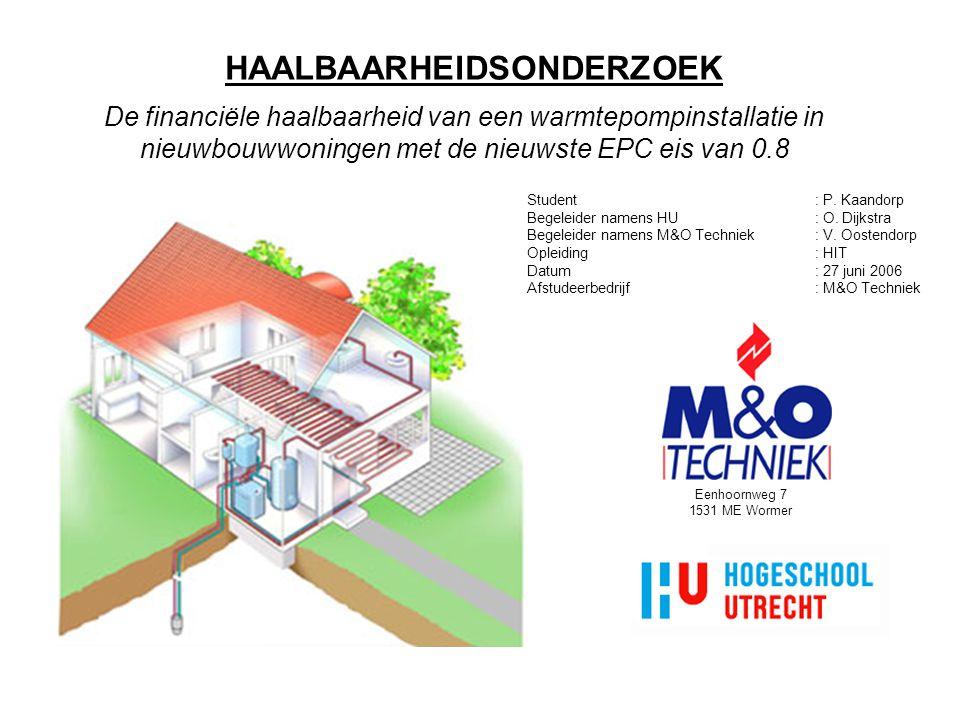HAALBAARHEIDSONDERZOEK De financiële haalbaarheid van een warmtepompinstallatie in nieuwbouwwoningen met de nieuwste EPC eis van 0.8 Student: P.