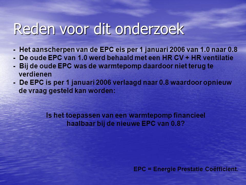 Reden voor dit onderzoek - Het aanscherpen van de EPC eis per 1 januari 2006 van 1.0 naar 0.8 - De oude EPC van 1.0 werd behaald met een HR CV + HR ventilatie - Bij de oude EPC was de warmtepomp daardoor niet terug te verdienen - De EPC is per 1 januari 2006 verlaagd naar 0.8 waardoor opnieuw de vraag gesteld kan worden: Is het toepassen van een warmtepomp financieel haalbaar bij de nieuwe EPC van 0.8.