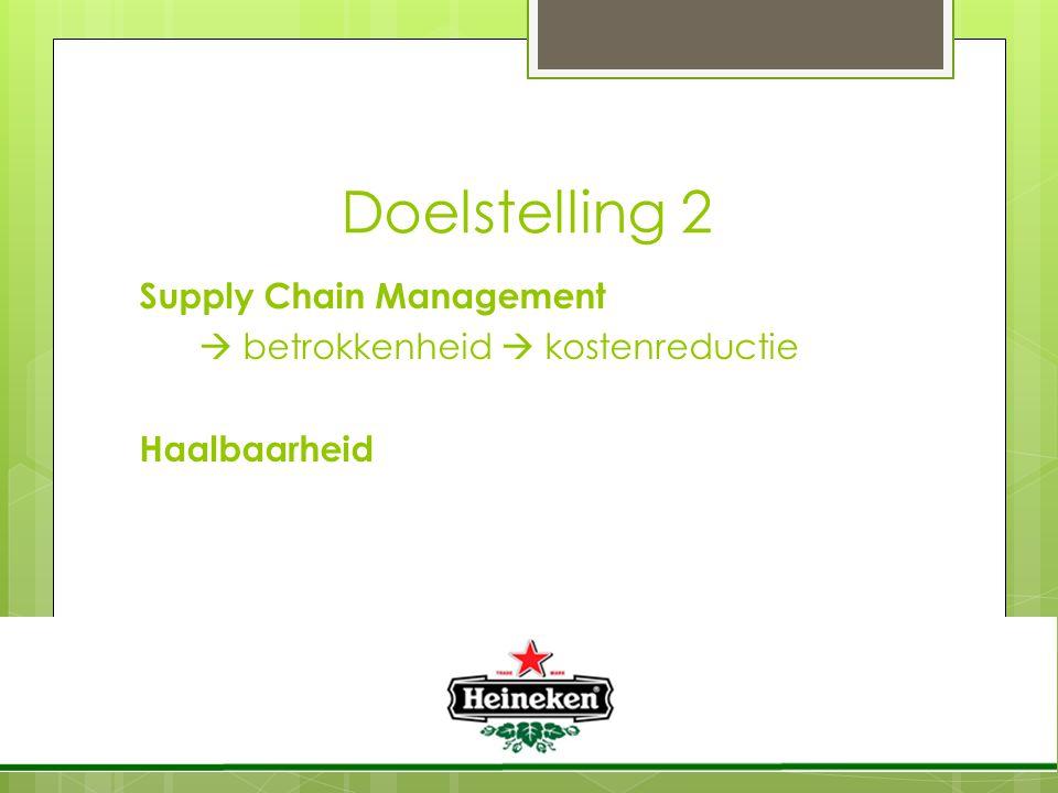 Doelstelling 2 Supply Chain Management  betrokkenheid  kostenreductie Haalbaarheid