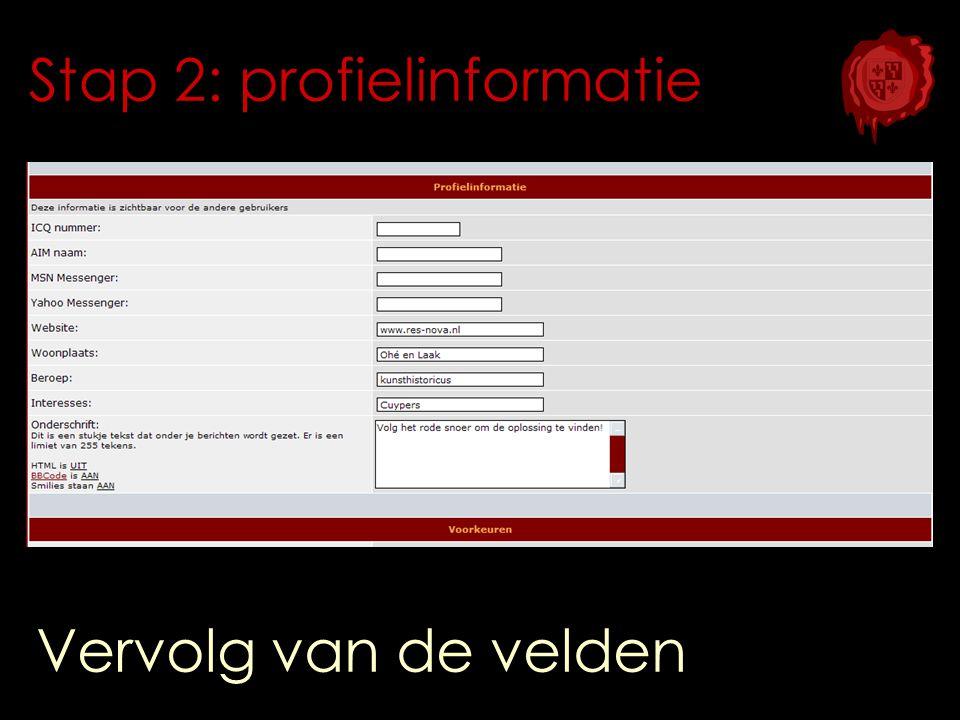 Stap 2: profielinformatie Vervolg van de velden