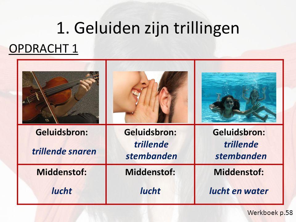 1. Geluiden zijn trillingen OPDRACHT 1 Werkboek p.58 Geluidsbron: Middenstof: trillende snaren trillende stembanden lucht lucht en water