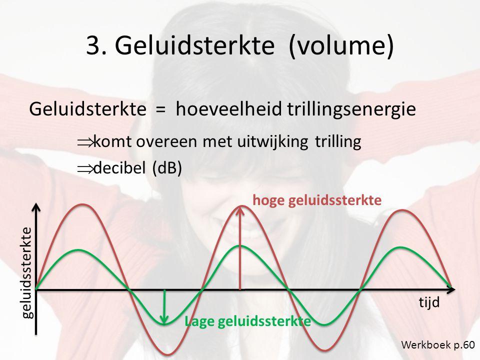 3. Geluidsterkte (volume) Geluidsterkte = hoeveelheid trillingsenergie  komt overeen met uitwijking trilling  decibel (dB) geluidssterkte tijd Lage