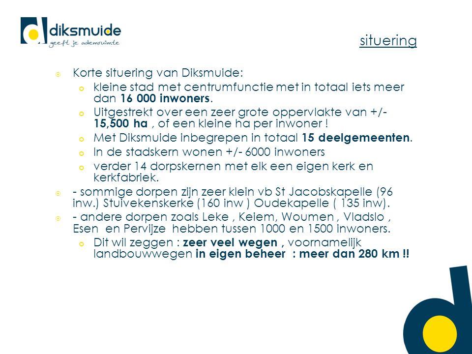 situering  Korte situering van Diksmuide: kleine stad met centrumfunctie met in totaal iets meer dan 16 000 inwoners. Uitgestrekt over een zeer grote