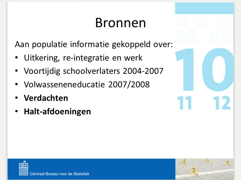 Bronnen Aan populatie informatie gekoppeld over: Uitkering, re-integratie en werk Voortijdig schoolverlaters 2004-2007 Volwasseneneducatie 2007/2008 V