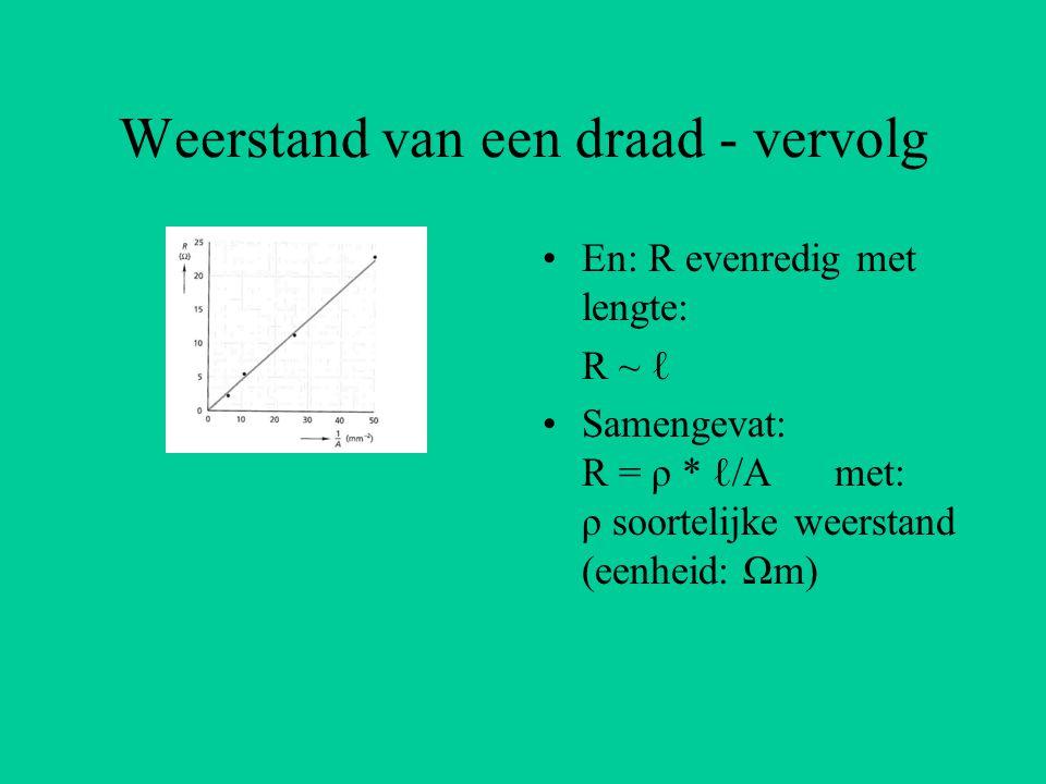Weerstand van een draad - vervolg En: R evenredig met lengte: R ~ ℓ Samengevat: R = ρ * ℓ/A met: ρ soortelijke weerstand (eenheid: Ωm)