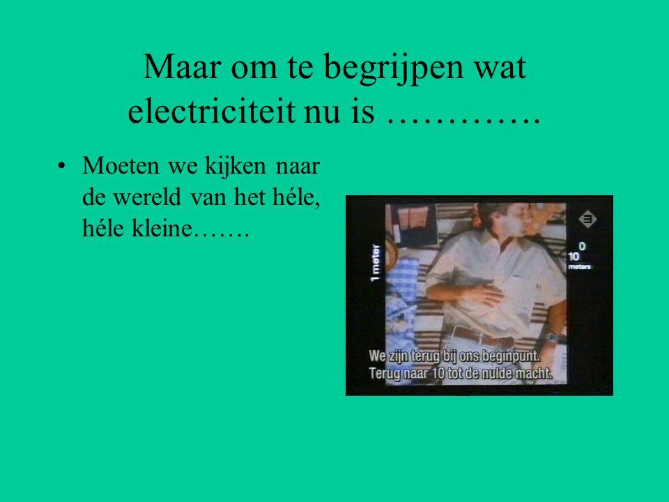 Maar om te begrijpen wat electriciteit nu is …………. Moeten we kijken naar de wereld van het héle, héle kleine…….