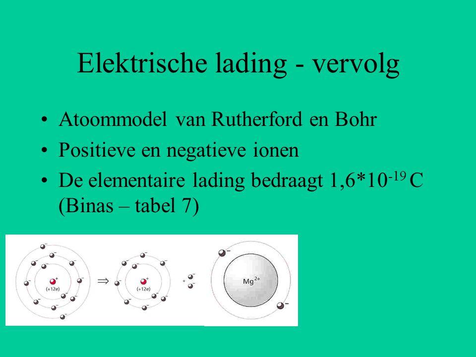 Elektrische lading - vervolg Atoommodel van Rutherford en Bohr Positieve en negatieve ionen De elementaire lading bedraagt 1,6*10 -19 C (Binas – tabel