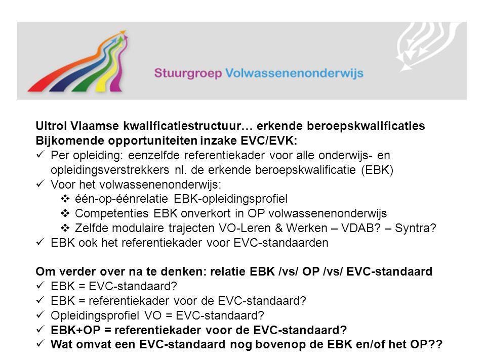 Uitrol Vlaamse kwalificatiestructuur… erkende beroepskwalificaties Bijkomende opportuniteiten inzake EVC/EVK: Per opleiding: eenzelfde referentiekader voor alle onderwijs- en opleidingsverstrekkers nl.