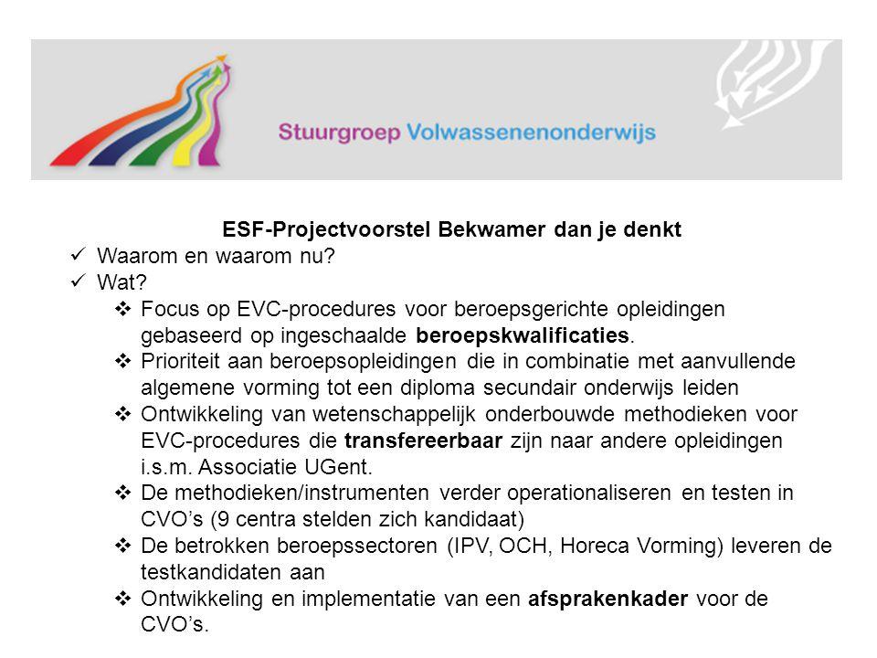 ESF-Projectvoorstel Bekwamer dan je denkt Waarom en waarom nu.