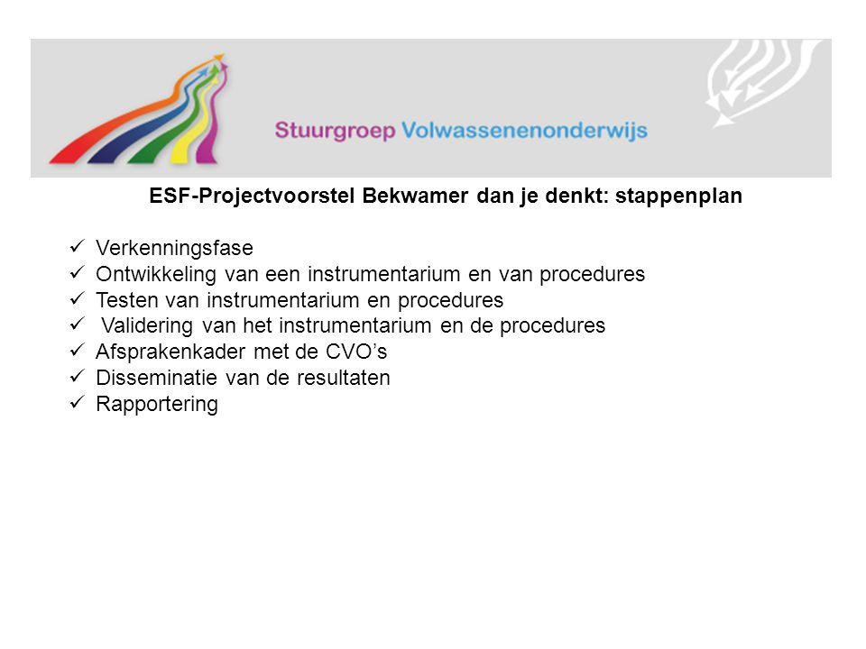 ESF-Projectvoorstel Bekwamer dan je denkt: stappenplan Verkenningsfase Ontwikkeling van een instrumentarium en van procedures Testen van instrumentarium en procedures Validering van het instrumentarium en de procedures Afsprakenkader met de CVO's Disseminatie van de resultaten Rapportering